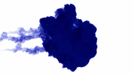 拡散 : blue ink on white background. 3d render, with luma matte. many ink injections 4