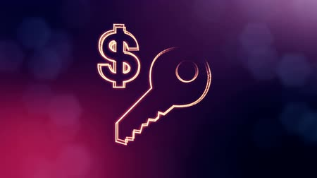distorção : dollar sign and emblem of key. Finance background of luminous particles. 3D loop animation with depth of field, bokeh and copy space for your text. Violet v4