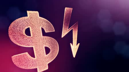 доллар : dollar sign and emblem of lighting bolt. Finance background of luminous particles. 3D loop animation with depth of field, bokeh and copy space for your text. Violet v4