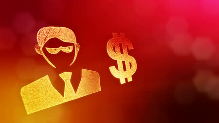 kapitalismus : dollar sign and emblem of a businessman. Finance background of luminous particles. 3D loop animation with depth of field, bokeh and copy space for your text. Red v4