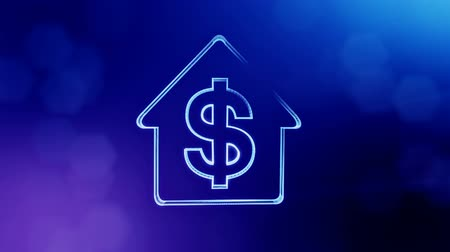 capitalism : dollar sign in emblem of a house. Finance background of luminous particles. 3D seamless animation with depth of field, bokeh and copy space for your text. Blue v4