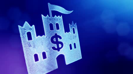 redaccion : dollar sign in emblem of castle. Finance background of luminous particles. 3D loop animation with depth of field, bokeh and copy space for your text. Blue v4 Archivo de Video