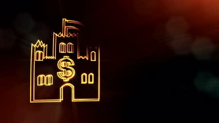 particle system : dollar sign in emblem of castle. Finance background of luminous particles. 3D seamless animation with depth of field, bokeh and copy space for your text. Dark version V4