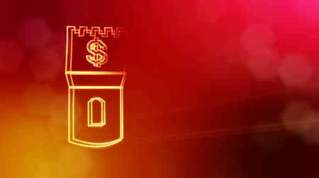 godło : dollar sign in emblem of a tower. Finance background of luminous particles. 3D loop animation with depth of field, bokeh and copy space for your text. Red v4 Wideo