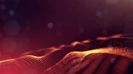 írisz : 4k abstract looped backgrounds with luminous particles with depth of field. For holiday presentations, as a bright background with light effects. modern motion graphics background. Golden red 31 Stock mozgókép