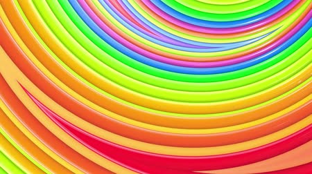 peppy : Rainbow multicolored stripes move cyclically. Abstract 3d seamless bright background in 4k. Simple geometry in cartoon creative style. Looped smooth animation. Curves 10