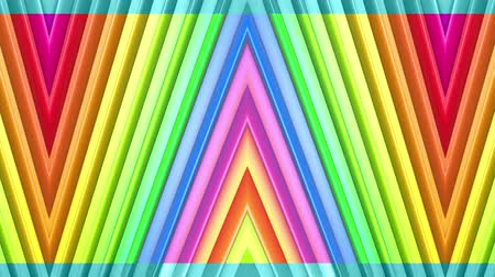 peppy : Rainbow multicolored stripes move cyclically. Abstract 3d seamless bright background in 4k. Simple geometry in cartoon creative style. Looped smooth animation. Line 16