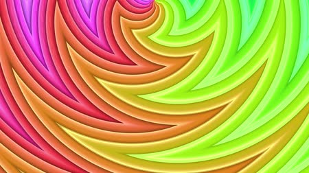 dinamic background : Rainbow multicolored stripes move cyclically. Abstract 3d seamless bright background in 4k. Simple geometry in cartoon creative style. Looped smooth animation. Curves 17