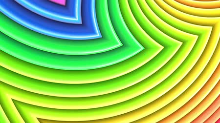 peppy : Rainbow multicolored stripes move cyclically. Abstract 3d seamless bright background in 4k. Simple geometry in cartoon creative style. Looped smooth animation. Curves 1