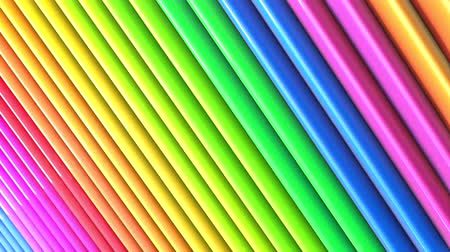 on line : Rainbow multicolored stripes move cyclically. Abstract 3d seamless bright background in 4k. Simple geometry in cartoon creative style. Looped smooth animation. Line 22 Vídeos