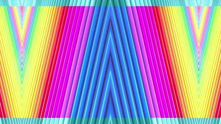 peppy : Rainbow multicolored stripes move cyclically. Abstract 3d seamless bright background in 4k. Simple geometry in cartoon creative style. Looped smooth animation. Line 23