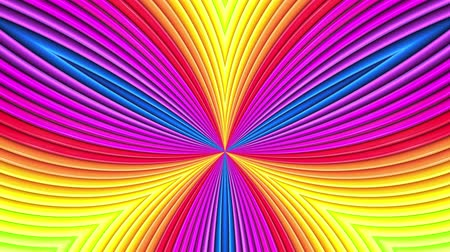 radiante : Rainbow multicolored stripes move cyclically. Abstract 3d seamless bright background in 4k. Simple geometry in cartoon creative style. Looped smooth animation. Curves 22