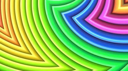 peppy : Rainbow multicolored stripes move cyclically. Abstract 3d seamless bright background in 4k. Simple geometry in cartoon creative style. Looped smooth animation. Curves 32