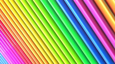 radiante : Rainbow multicolored stripes move cyclically. Abstract 3d seamless bright background in 4k. Simple geometry in cartoon creative style. Looped smooth animation. Line 44