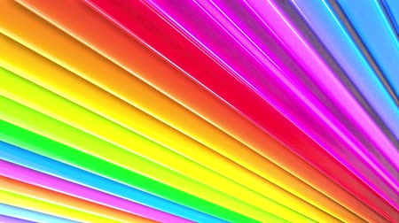 peppy : Rainbow multicolored stripes move cyclically. Abstract 3d seamless bright background in 4k. Simple geometry in cartoon creative style. Looped smooth animation. Line 51 Stock Footage