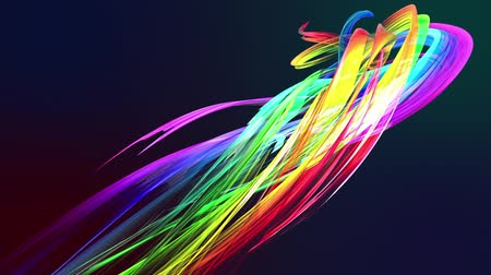 stroke : colorful rainbow stripes twist in a circular formation, move in a circle. Seamless creative background, looped 3d smooth animation of bright shiny ribbons curled in circle glitters like glass. 13