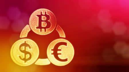 logo elements : symbol bitcoin euro and dollar in a circular bunch. Financial background made of glow particles. Shiny 3D seamless animation with depth of field, bokeh and copy space. Red v6