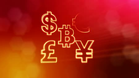 büyük ağ : symbol bitcoin dollar euro pound and yen. Financial background made of glow particles as vitrtual hologram. 3D seamless animation with depth of field, bokeh and copy space. Red v6 Stok Video