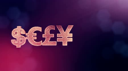 geometryczne : symbol dollar euro pound and yen. Financial background made of glow particles as vitrtual hologram. 3D seamless animation with depth of field, bokeh and copy space. VIolet 6
