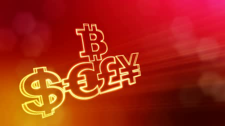 distorção : symbol bitcoin dollar euro pound and yen.. Financial background made of glow particles as vitrtual hologram. 3D seamless animation with depth of field, bokeh and copy space. Red v6 Stock Footage