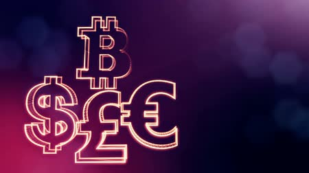 godło : symbol bitcoin dollar euro pound. Financial background made of glow particles as vitrtual hologram. 3D seamless animation with depth of field, bokeh and copy space. VIolet 6