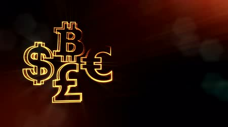 pound : symbol bitcoin dollar euro pound.. Financial background made of glow particles as vitrtual hologram. 3D seamless animation with depth of field, bokeh and copy space. Dark version 6 Stock Footage
