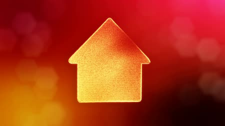 logo elements : icon of house. Background made of glow particles as vitrtual hologram. 3D seamless animation with depth of field, bokeh and copy space. Red v6