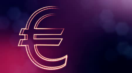 techno : Animation icon or emblem of Euro. Financial background made of glow particles as vitrtual hologram. Shiny 3D loop animation with depth of field, bokeh and copy space.. VIolet 6