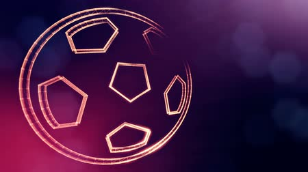 logo elements : icon of soccer ball. Background made of glow particles as vitrtual hologram.. 3D seamless animation with depth of field, bokeh and copy space. VIolet 6