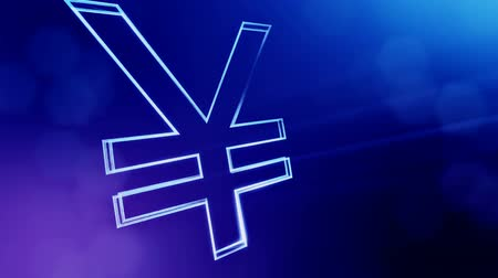 godło : Animation icon or emblem of Japanese yen Logo. Background made of glow particles as vitrtual hologram. Shiny 3D loop animation with depth of field, bokeh and copy space. Blue v6 Wideo