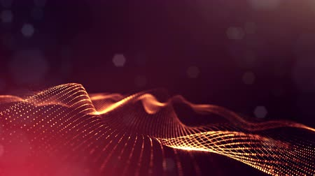 vibrující : 4k abstract looped backgrounds with luminous particles with depth of field. Science fiction background. Golden red dot structures 24