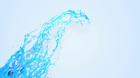 vízcseppek : 4k blue splash moves past the camera in slow motion. 3d animation with luma matte as alpha channel for simple substitution of the background under the liquid. To cut a splash use luma matte. 17 Stock mozgókép