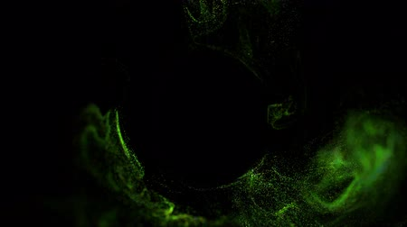 gibi : 4k luminous particles move in liquid flow and stumble upon a force field in the center of frame pushing apart particles, place for text or a logo. Luma matte as alpha channel. Green 13 Stok Video