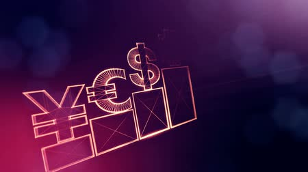 fintech : Sign of pound dollar yen bitcoin on columns. Financial background made of glow particles as vitrtual hologram. Shiny 3D loop animation with depth of field, bokeh and copy space. Violet v6