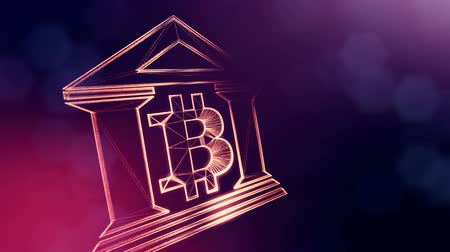 мерцание : Sign of bitcoin logo inside the bank building. Financial background made of glow particles as vitrtual hologram. Shiny 3D loop animation with depth of field, bokeh and copy space. Violet v6 Стоковые видеозаписи