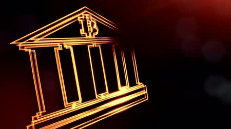 borrão : Sign of bitcoin logo inside the bank building. Financial background made of glow particles as vitrtual hologram. Shiny 3D loop animation with depth of field, bokeh and copy space. Dark version v6 Stock Footage