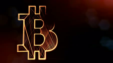 versão : Sign of bitcoin logo. Financial background made of glow particles as vitrtual hologram. Shiny 3D loop animation with depth of field, bokeh and copy space. Dark version v6 Vídeos