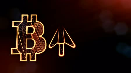 embléma : bitcoin icon and the up arrow icon. Financial background made of glow particles as vitrtual hologram. Shiny 3D loop animation with depth of field, bokeh and copy space. Dark version v6