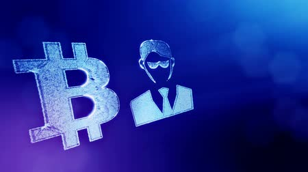 sorguç : Sign of bitcoin and businessman or hacker. Financial background made of glow particles as vitrtual hologram. Shiny 3D loop animation with depth of field, bokeh and copy space. Blue v6