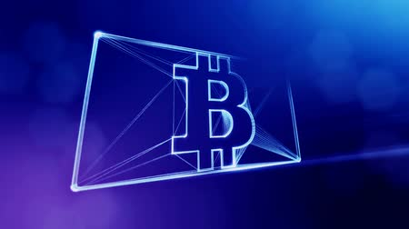 opaque : Sign of bitcoin in the card. Financial background made of glow particles as vitrtual hologram. Shiny 3D loop animation with depth of field, bokeh and copy space. Blue v6 Stock Footage