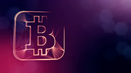 pontos : bitcoin icon. Financial background made of glow particles as vitrtual hologram. Shiny 3D loop animation with depth of field, bokeh and copy space. Violet v6