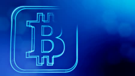 distorção : bitcoin digital icon. Financial background made of glow particles as vitrtual hologram. Shiny 3D loop animation with depth of field, bokeh and copy space. Blue v6