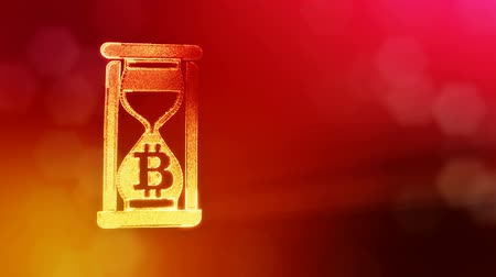 opaque : Sign of bitcoin in hourglass. Financial background made of glow particles as vitrtual hologram. Shiny 3D loop animation with depth of field, bokeh and copy space. Red v6