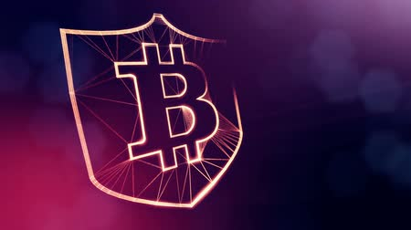 opaque : bitcoin logo inside the shield. Financial background made of glow particles as vitrtual hologram. Shiny 3D loop animation with depth of field, bokeh and copy space. Violet v6