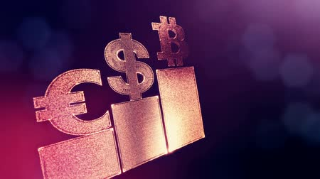 opaque : Signs of Bitcoin dollar and euro on columns. Financial background made of glow particles as vitrtual hologram. Shiny 3D loop animation with depth of field, bokeh and copy space. Violet v6
