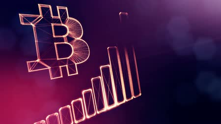 embléma : Sign of Bitcoin and diagram. Financial background made of glow particles as vitrtual hologram. Shiny 3D loop animation with depth of field, bokeh and copy space. Violet v6
