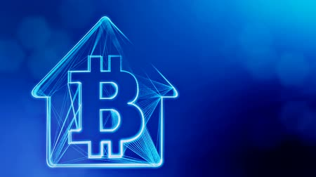 sorguç : Sign of logo bitcoin inside the emblem of the house. Financial background made of glow particles as vitrtual hologram. Shiny 3D loop animation with depth of field, bokeh and copy space. Blue v6 Stok Video