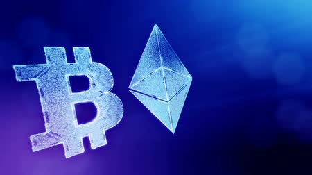 logo elements : Signs of Bitcoin and ethereum. Financial background made of glow particles as vitrtual hologram. Shiny 3D loop animation with depth of field, bokeh and copy space. Blue v6 Stock Footage
