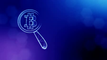 embléma : Sign of bitcoin under a magnifying glass. Financial background made of glow particles as vitrtual hologram. Shiny 3D loop animation with depth of field, bokeh and copy space. Blue v6
