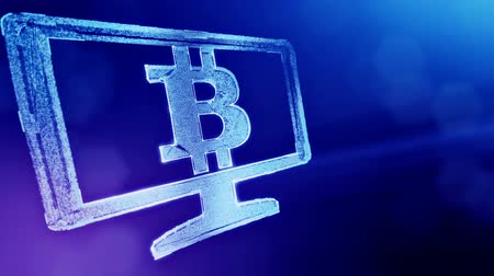 opaque : bitcoin logo inside the monitor. Financial background made of glow particles as vitrtual hologram. Shiny 3D loop animation with depth of field, bokeh and copy space. Blue v6 Stock Footage